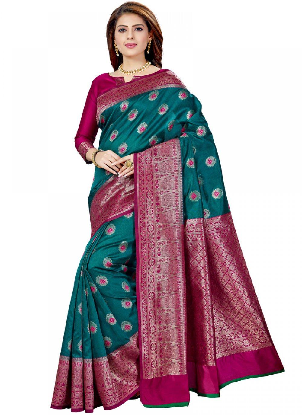 Weaving Green Raw Silk Classic Saree