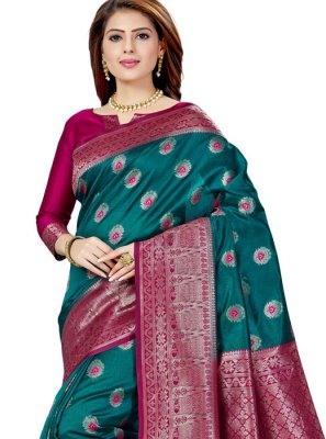 Weaving Green Raw Silk Classic Saree