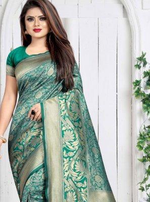 Weaving Green Silk Saree