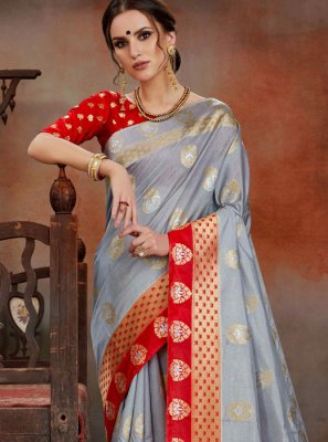 Weaving Grey Traditional Saree