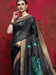 Weaving Handloom silk Designer Saree in Black