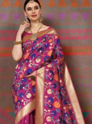 Weaving Handloom silk Magenta Designer Traditional Saree