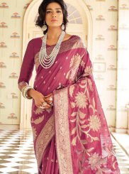 Weaving Handloom silk Magenta Traditional Saree