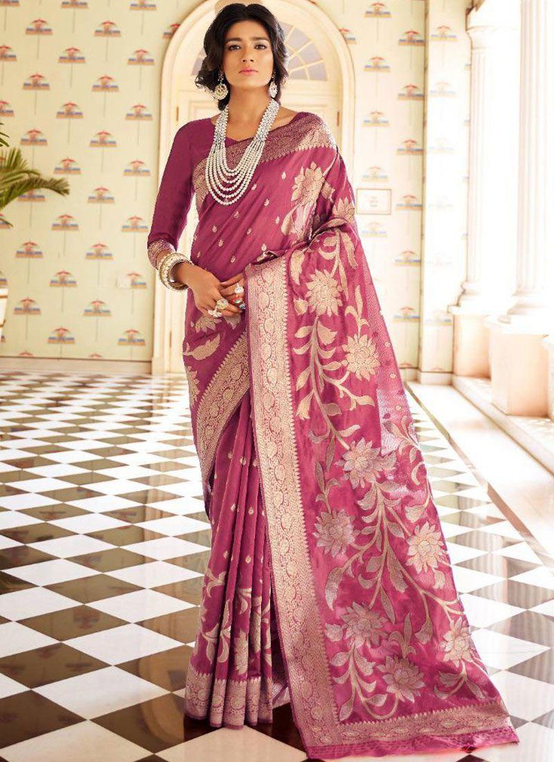 Weaving Handloom silk Magenta Traditional Saree