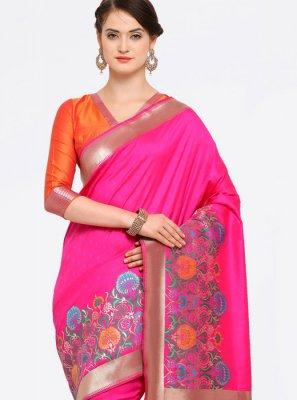 Weaving Hot Pink Banarasi Silk Traditional Designer Saree
