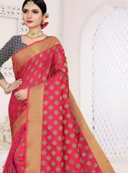 Weaving Hot Pink Casual Saree