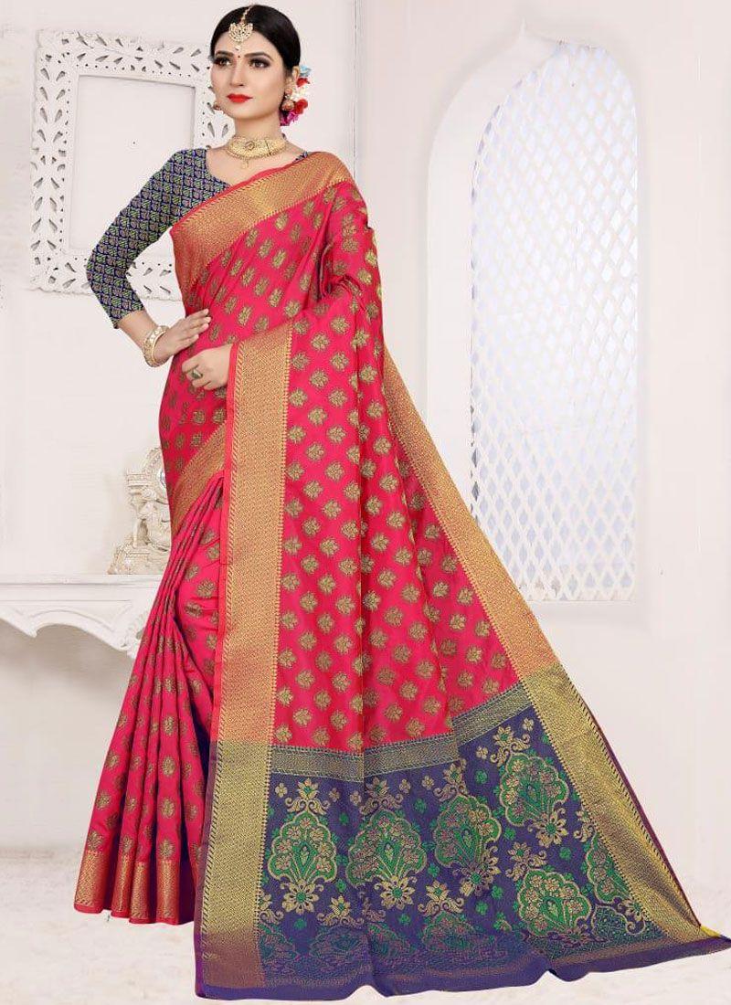 Weaving Hot Pink Casual Saree