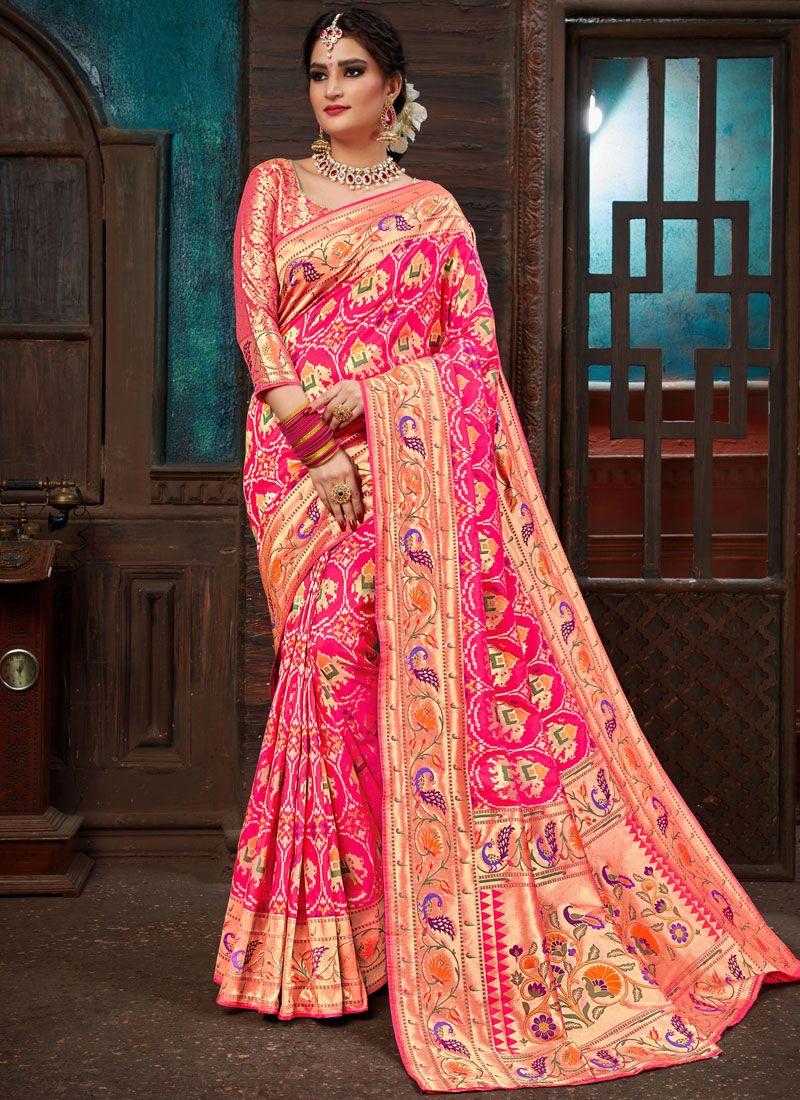 Weaving Hot Pink Patola Silk  Designer Traditional Saree