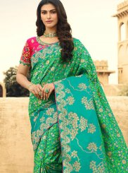 Weaving Jacquard Silk Classic Saree in Sea Green