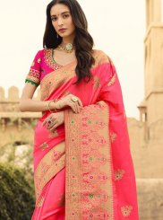 Weaving Jacquard Silk Pink Trendy Saree