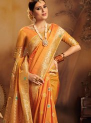 Weaving Jacquard Silk Traditional Designer Saree in Orange