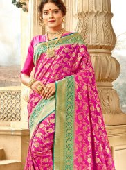 Weaving Jacquard Silk Traditional Saree in Hot Pink