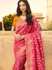 Weaving Jacquard Silk Traditional Saree in Pink