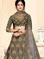 Weaving Jacquard Silk Trendy Lehenga Choli in Grey