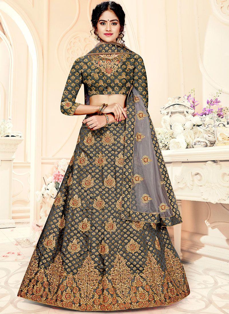 Weaving Jacquard Silk Trendy Lehenga Choli in Grey