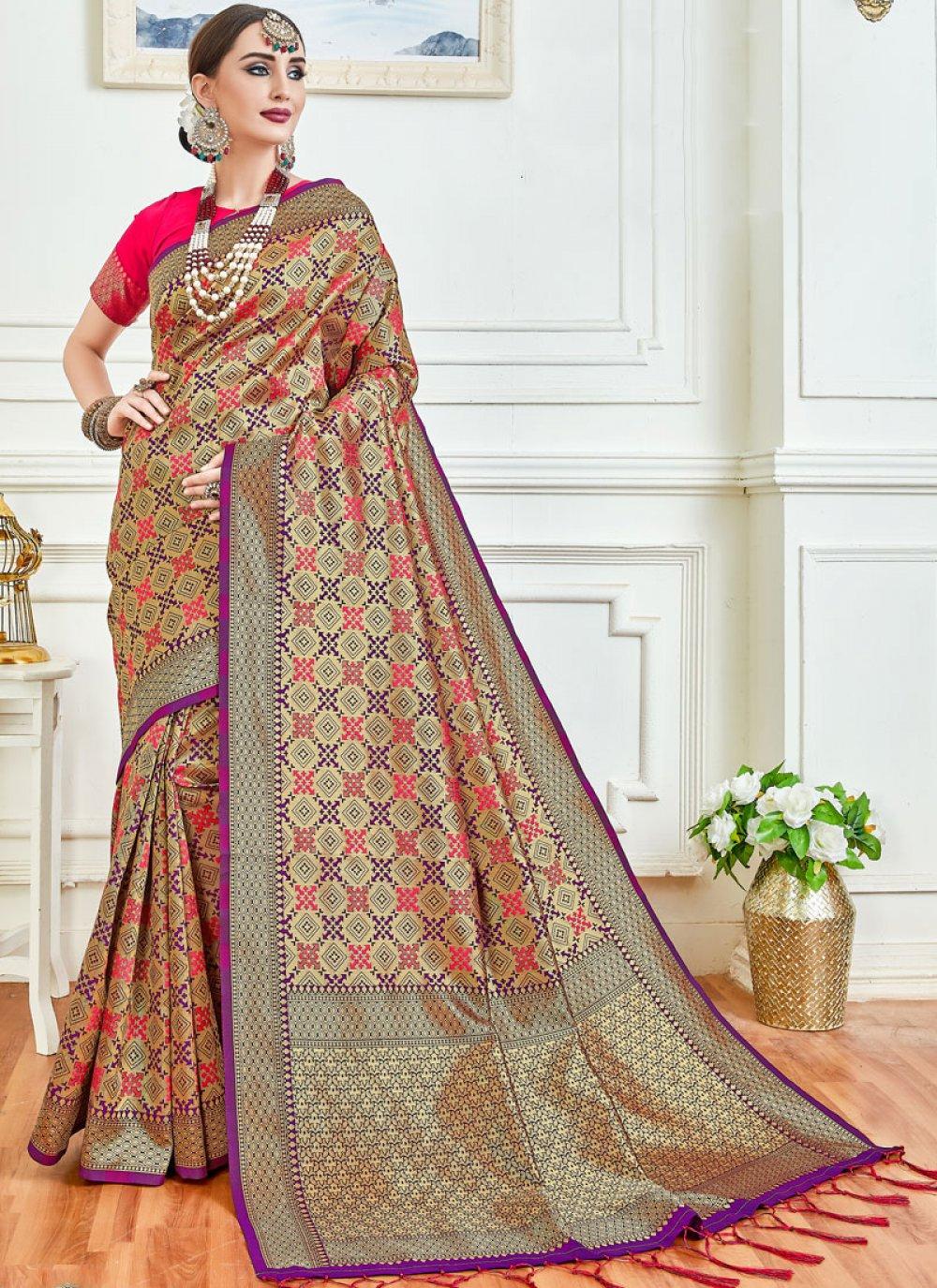 Weaving Lavender Classic Saree