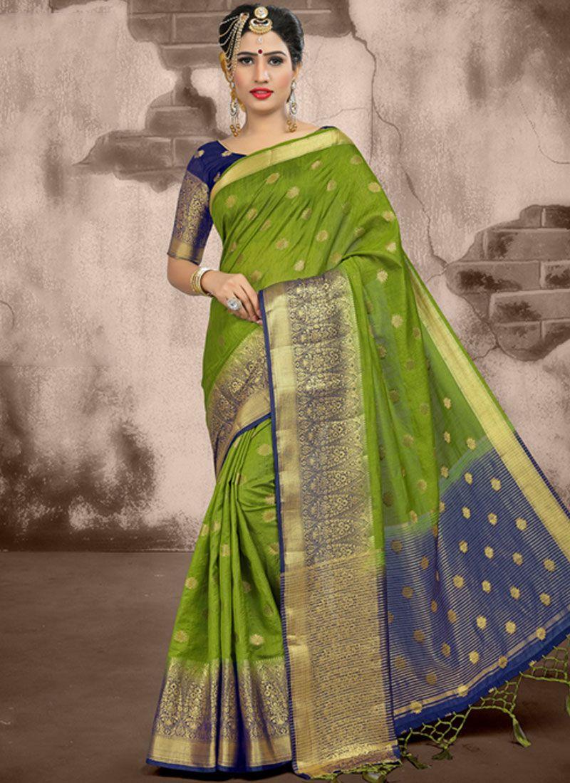 Weaving Linen Green Traditional Saree