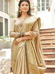 Weaving Linen Trendy Saree in Beige