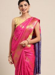 Weaving Magenta Art Silk Classic Designer Saree