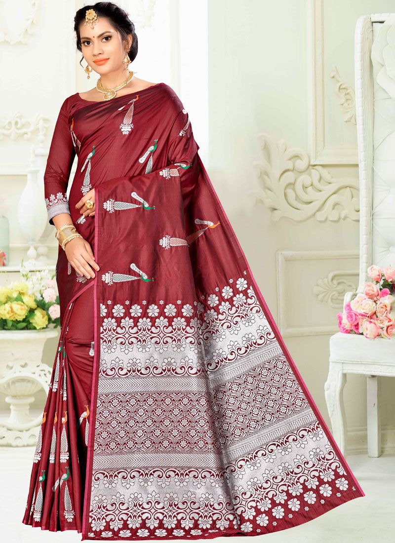 Weaving Maroon Art Silk Designer Traditional Saree