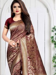 Weaving Maroon Silk Saree