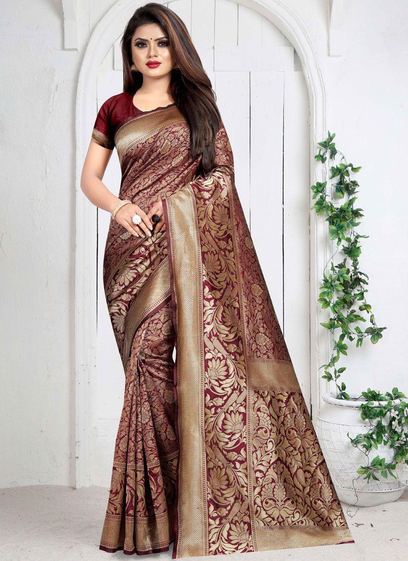 Weaving Maroon Silk Saree
