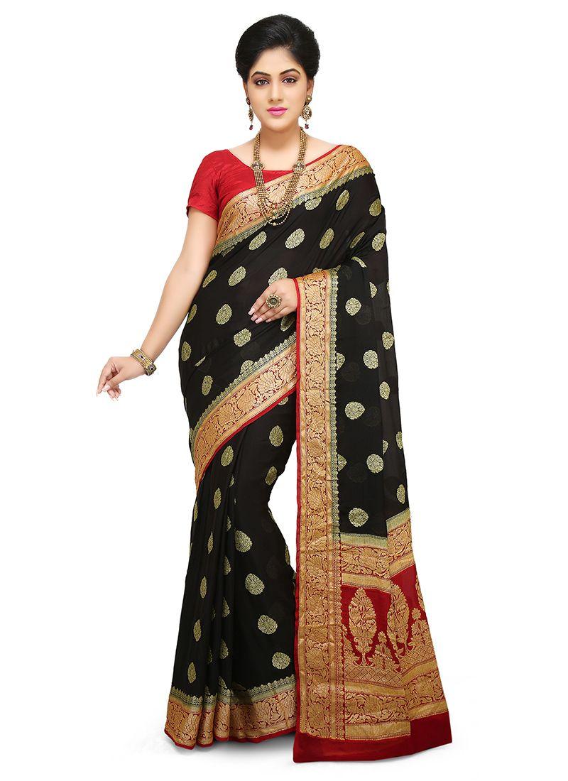 Weaving Mehndi Designer Traditional Saree