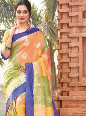 Weaving Multi Colour Art Silk Designer Traditional Saree