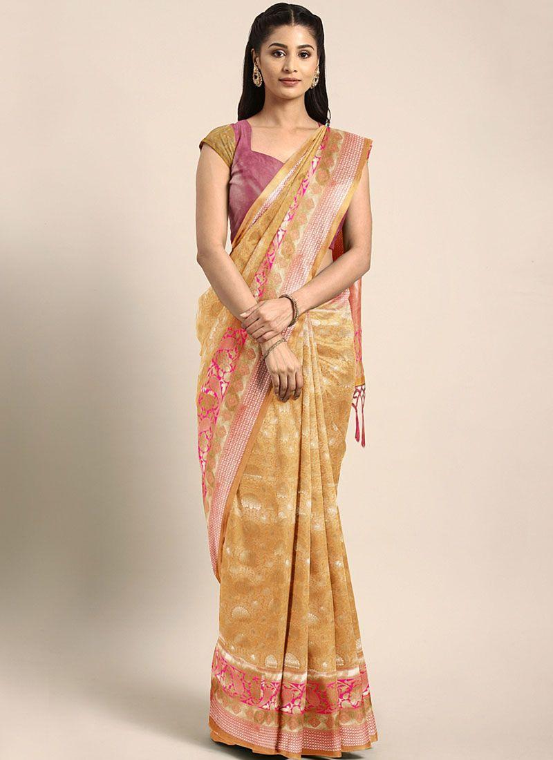 Weaving Mustard Art Silk Casual Saree