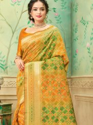 Weaving Mustard Banarasi Silk Trendy Saree