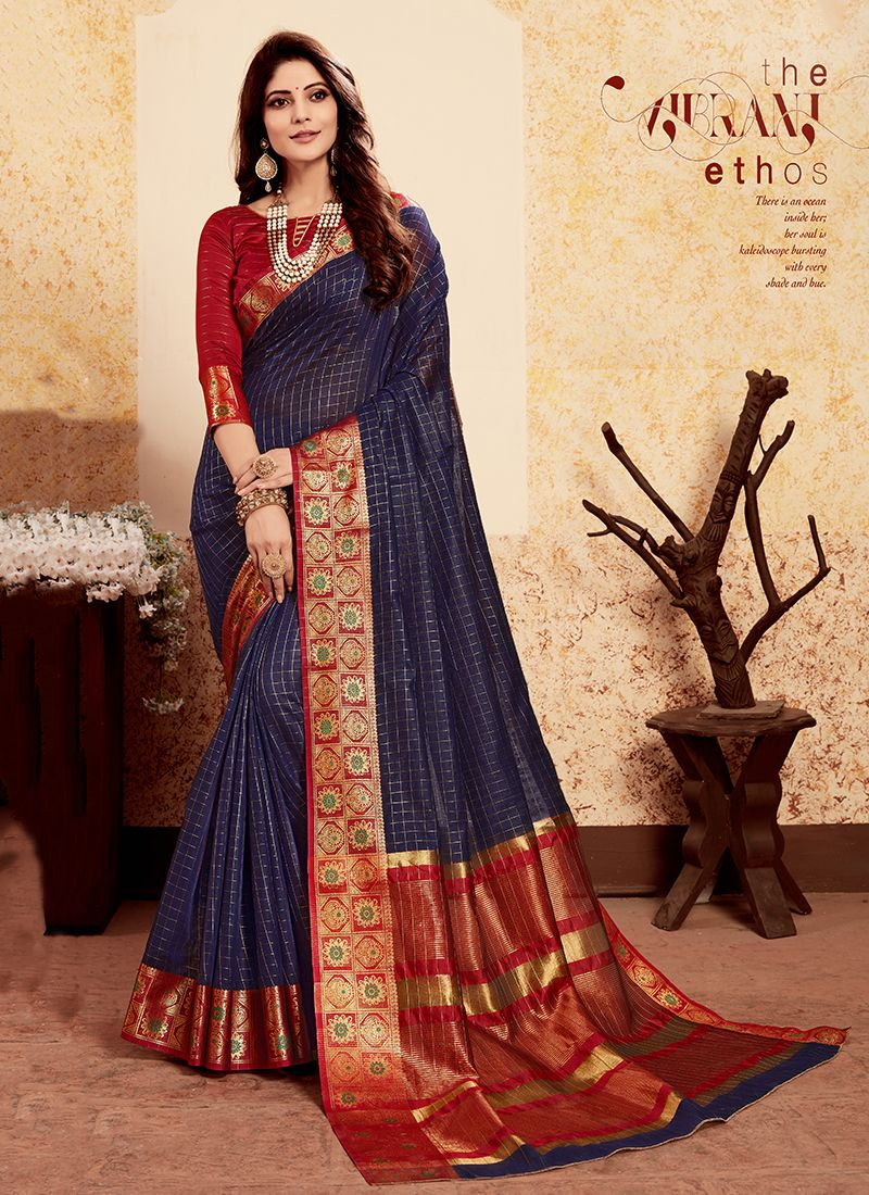 Weaving Navy Blue Art Silk Designer Traditional Saree