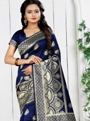 Weaving Navy Blue Art Silk Traditional Saree