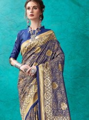 Weaving Navy Blue Classic Saree