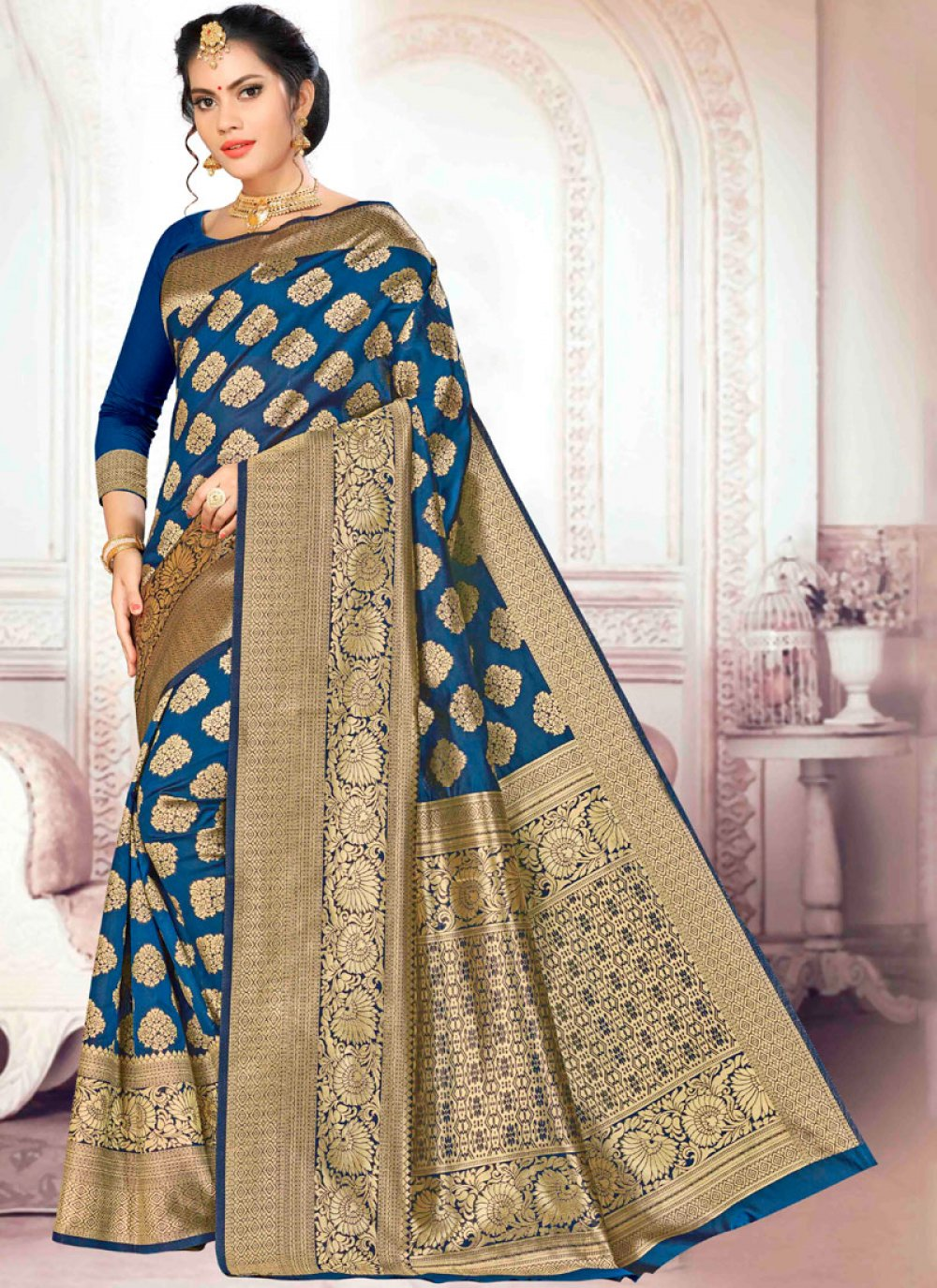 Weaving Navy Blue Designer Traditional Saree