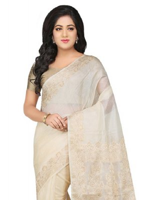 Weaving Off White Art Banarasi Silk Designer Traditional Saree