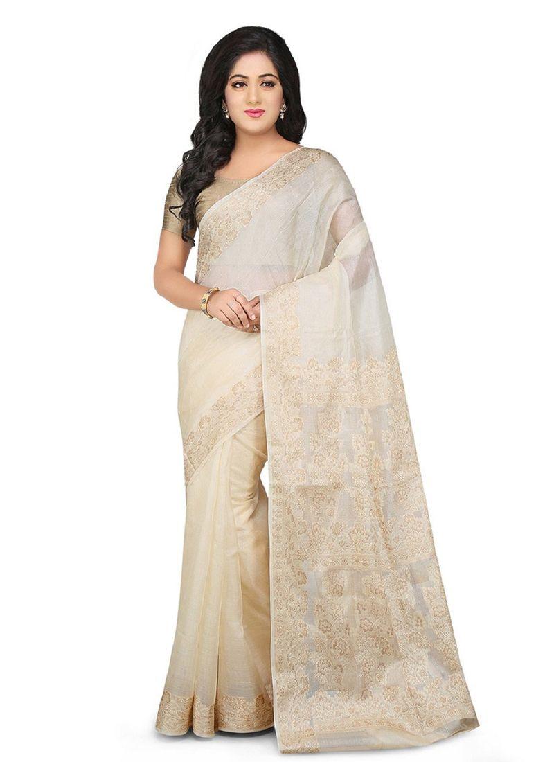 Weaving Off White Art Banarasi Silk Designer Traditional Saree