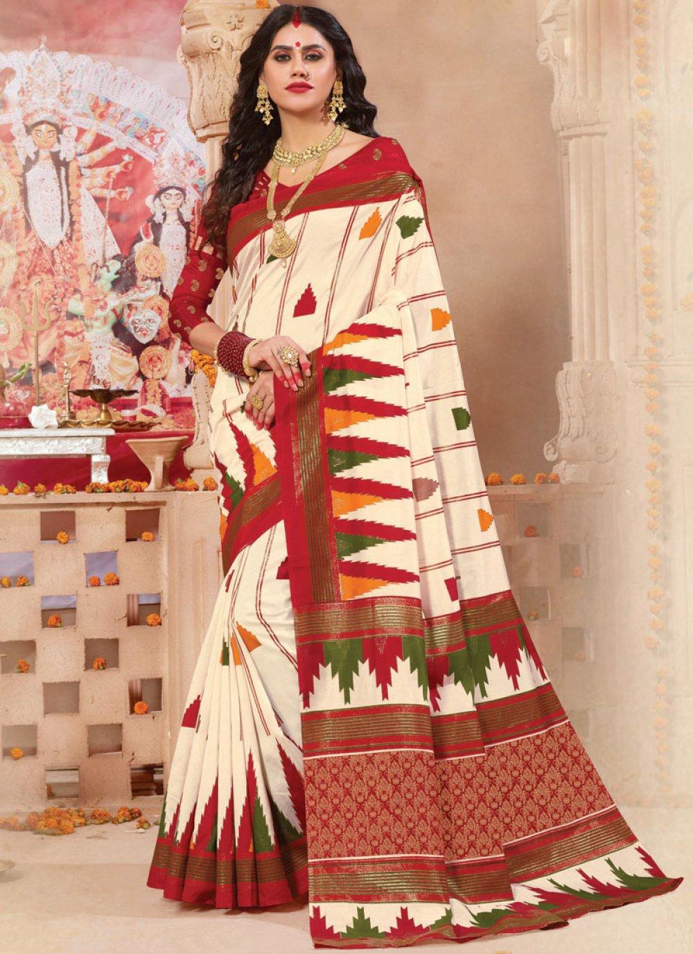 Weaving Off White Patola Silk  Classic Saree