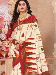 Weaving Off White Patola Silk  Classic Saree