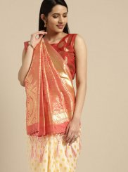 Weaving Off White Silk Saree