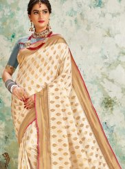 Weaving Off White Traditional Designer Saree