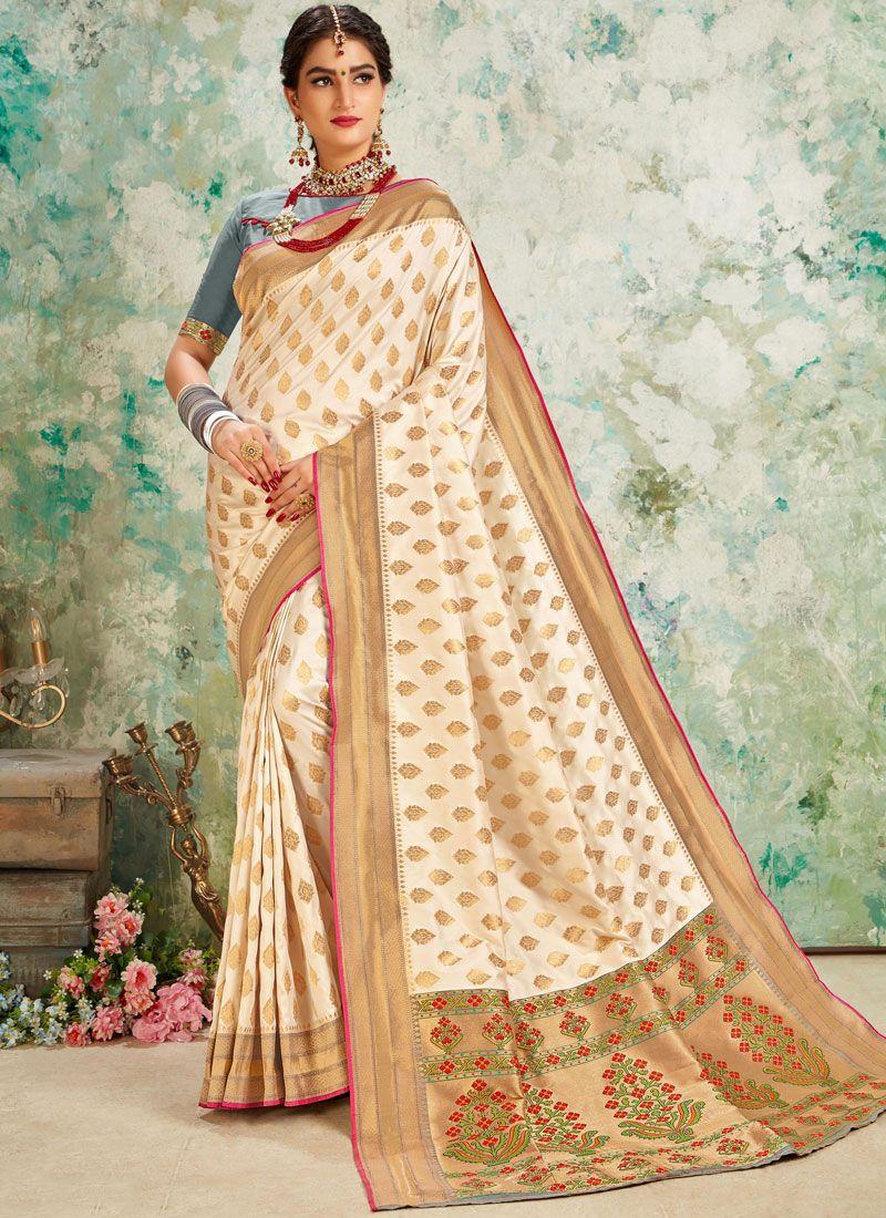 Weaving Off White Traditional Designer Saree