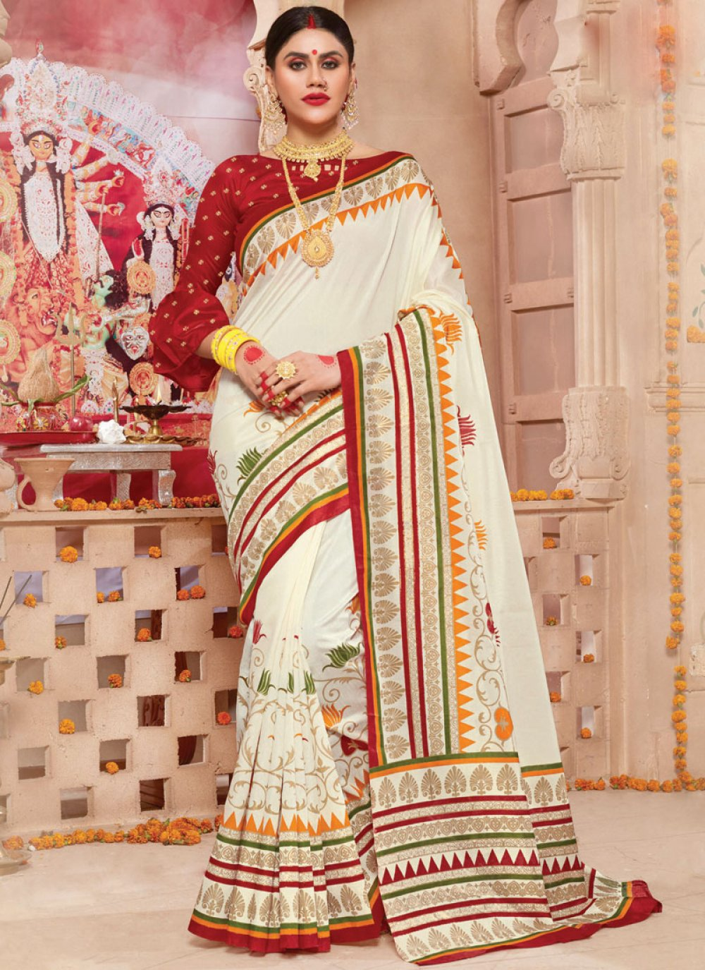 Weaving Off White Traditional Saree