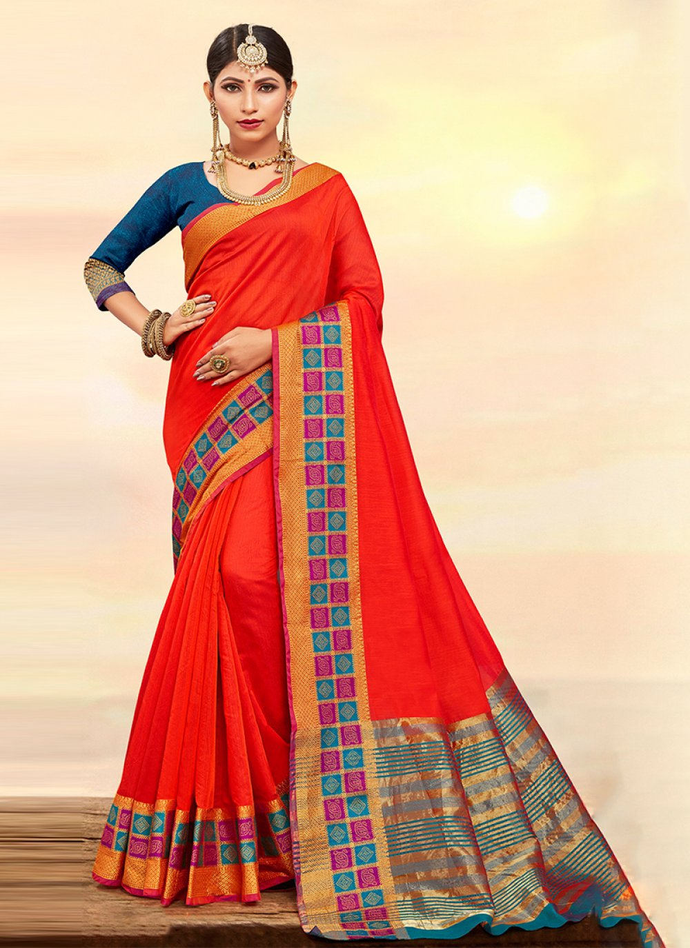Weaving Orange Art Silk Cotton Designer Traditional Saree