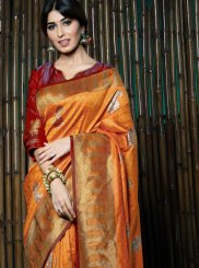 Weaving Orange Art Silk Designer Traditional Saree