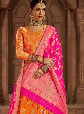 Weaving Orange Art Silk Lehenga Choli