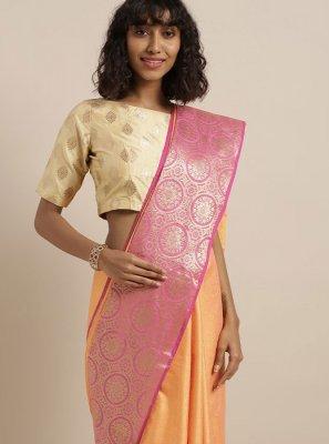 Weaving Orange Art Silk Silk Saree