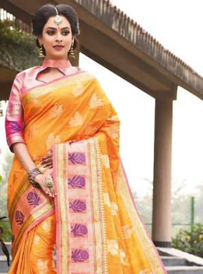 Weaving Orange Art Silk Traditional Designer Saree