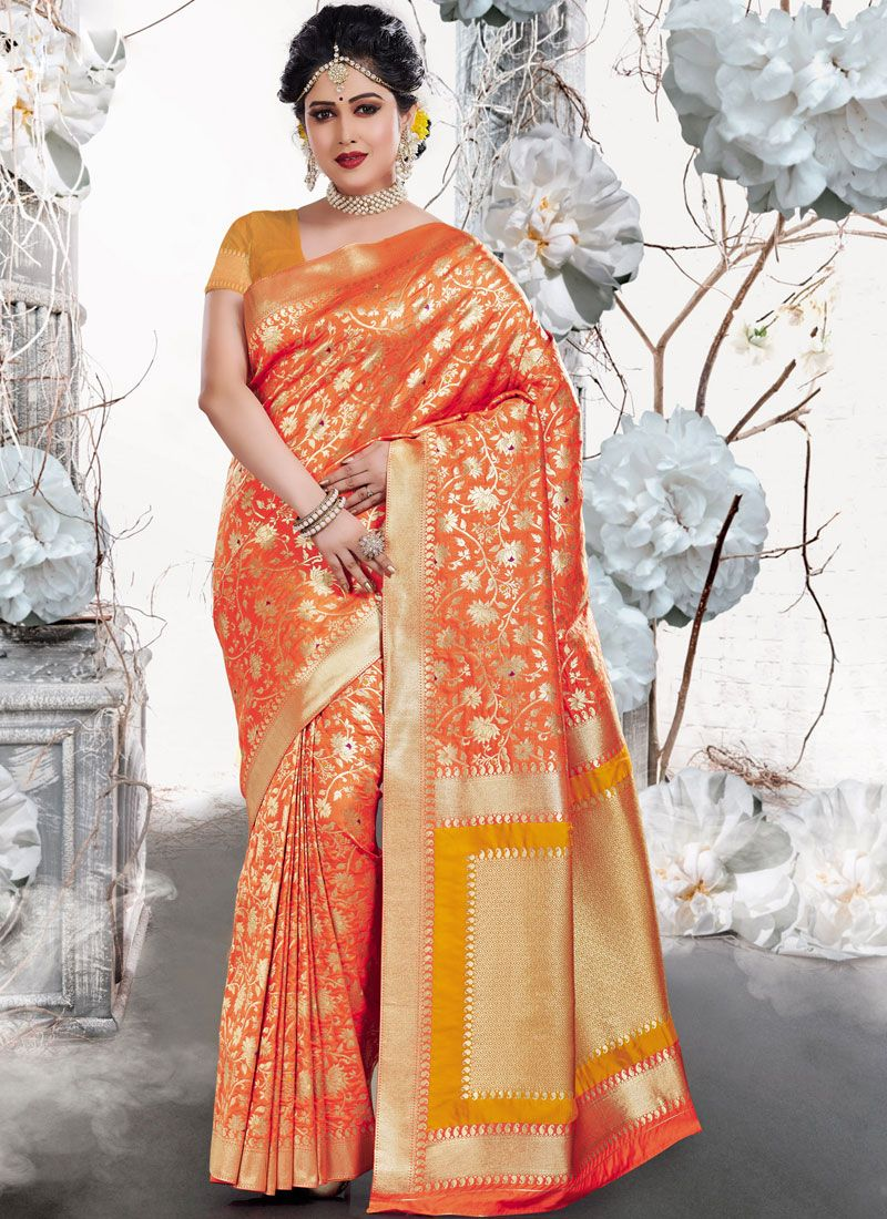 Weaving Orange Art Silk Traditional Saree