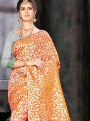 Weaving Orange Banarasi Silk Traditional Saree