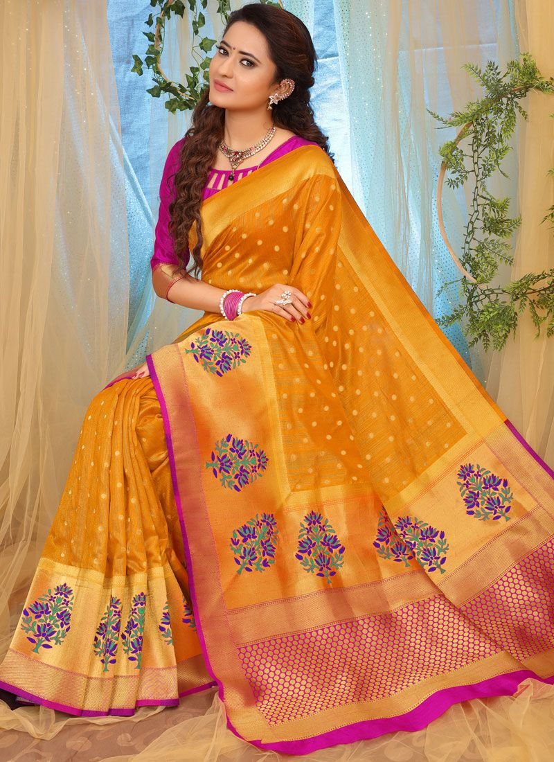 Weaving Orange Fancy Fabric Traditional Designer Saree